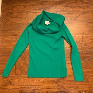 Kelly green Anthropologie off the shoulder sweater